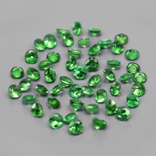 [LOT178] Calibrated 50pcs Lot 1.04ct t.w Round Brilliant Natural Green Tsavorite Garnet, Tanzania