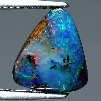 OP107 Triangle Cabochon 2.63Ct Red-Orange Rainbow Reflecting Matrix Boulder OPAL, Queensland
