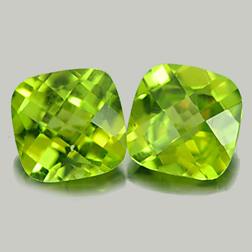 PD789 Matching Pair Cushion Checkerboard 3.27ct 7x7mm Natural Green Peridot