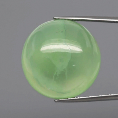 PH105 Round Cabochon 41ct 21mm Natural Black Tourmaline in Green Prehnite, Africa