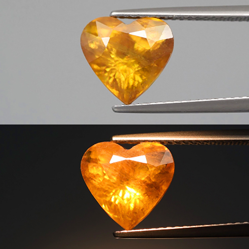 [SE101] Heart Shape 4.21ct 10x9.5x6.8mm Natural Rainbow Flash Greenish Yellow Sphene, Madagaskar