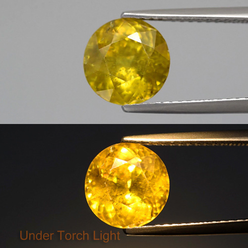 [SE105] Round 8.3mm 2.87ct Natural Greenish Yellow Sphene, Madagaskar