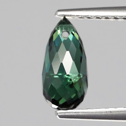 TM091 Briolette Drilled 1.44ct 4.7mm Natural Unheated Bluish Green Tourmaline