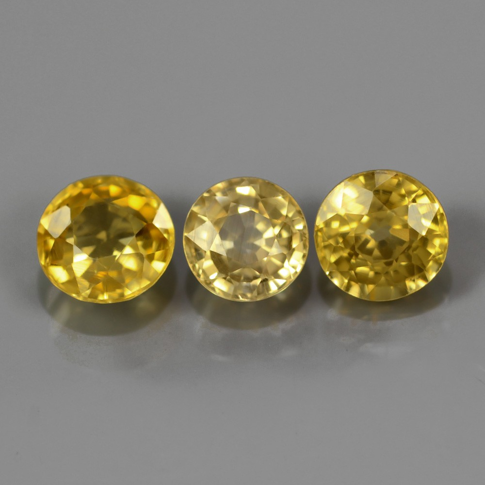 ZN008 Lot 3Pcs/4.03Ct t.w 5.5-6.2mm Round Natural Unheated Untreated Yellow ZIRCON, Tanzania