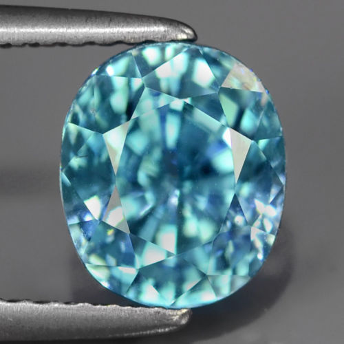 ZN003 Certified 3.38Ct 7.5x6.5mm Oval Natural Blue ZIRCON Cambodia, Top Luster