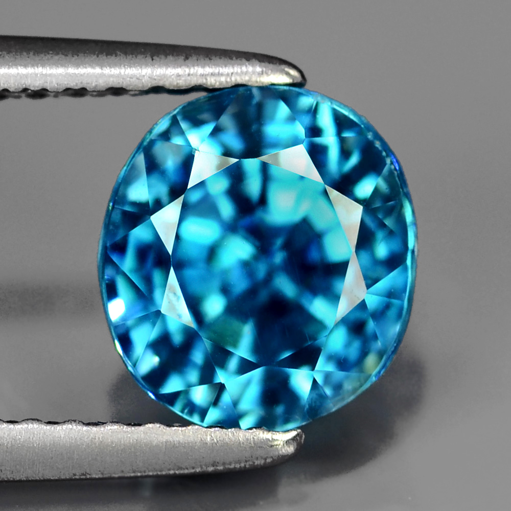 ZN005 Certified Natural Blue ZIRCON Cambodia 3.27Ct, Very Good-Luster