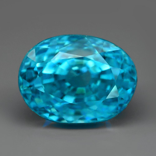 ZN010 GLC Certified Oval 3.25ct 8x6x6mm Natural Blue Zircon, Cambodia