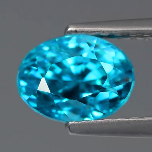 ZN019 Oval 2.58ct 7.5x5.5mm Natural Gentle Heat Medium Blue Zircon, Cambodia