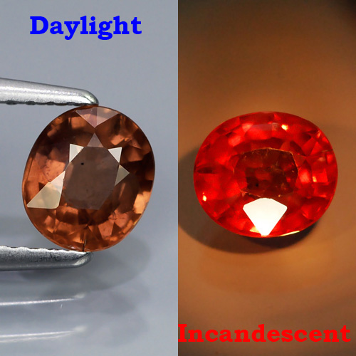 CC001 Natural Color Change Pinkish Orange To Orangish Red Malaya Garnet 1.09Ct