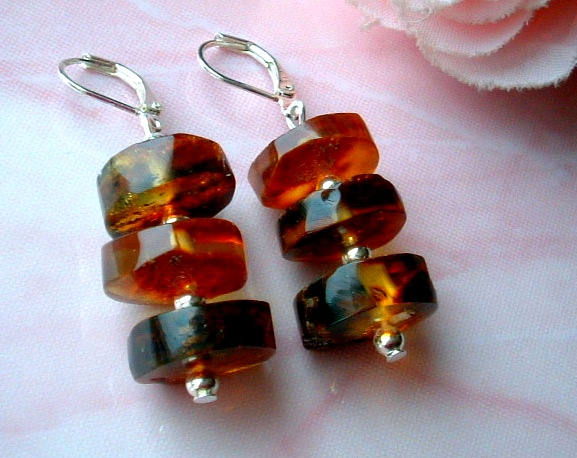 JWG108 Natural Baltic Amber Earrings