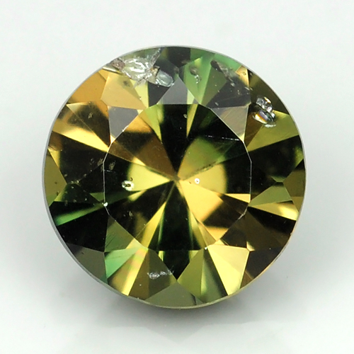 [KP085] Round 0.91ct 6.2x4.0mm Natural Unheated Yellowish green Kornerupine, Madagaskar