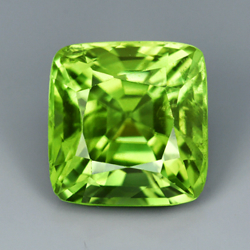 PD803 VS Antique Cut No Window 2.65ct 7.9x7.6mm Unheated Natural Celery Green Peridot, Good Luster